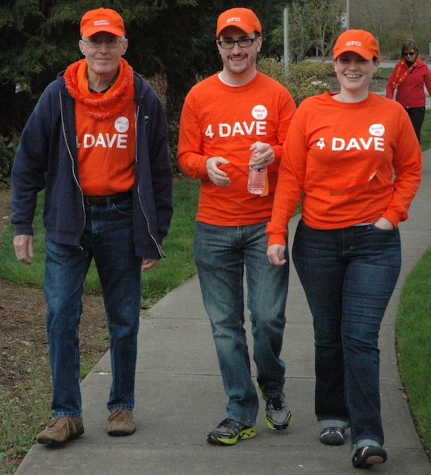 From left, Team 4 Dave members Dennis, Chris and Sarah Coerber round the corner of the final stretch of the Walk MS in Tulalip on April 12.— image credit: Kirk Boxleitner