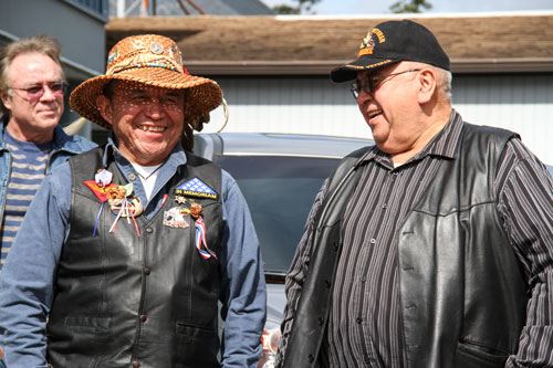 Tulalip veteran Andy Jones, pictured in cedar hat, served during the Vietnam Conflict with the Marines, organized the celebration. Photo/ Brandi N. Montreuil, Tulalip News
