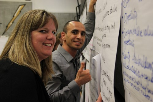 Summit Participants hang their group's discussion notes on the wall. From student needs, school improvement, and dreams of what the Marysville School District and its students should look like, the ideas were all shared, and often echoed. Andrew Gobin/Tulalip News