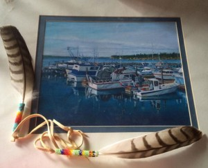 A painting of the Tulalip Marina by Tulalip tribal artist Sam Davis will be one of the raffle items during the Tulalip Inter-tribal jam session to raise money for victims of the Oso mudslide. Photo courtesy, Natosha Gobin