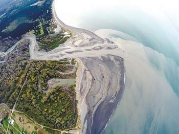 © Tom RoordaNOW: The mouth of the Elwha River, pictured from the air April 6, has developed a complexity unknown before dam removal work upstream.