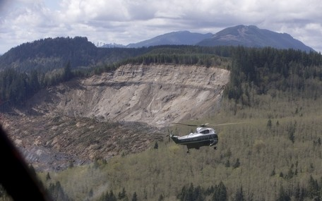 Carolyn Kaster / Associated PressMarine One, carrying President Barack Obama, takes an aerial tour of the Oso mudslide site on Tuesday.