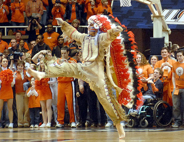 By Heather Colt, AP 11/11/2007University of Illinois mascot Chief Illiniwek made his final appearance for the school, performing during the Illini-Michigan basketball game in Champaign. Chief Illiniwek's career ended after 81 years because of pressure from the NCAA, which considers the mascot offensive to American Indians.