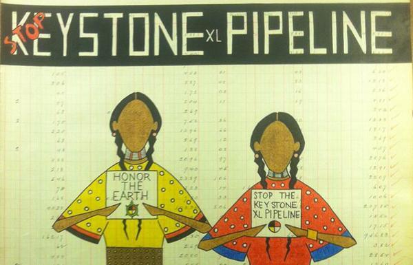 pepionledgerart.com'Winona LaDuke &Faith Spotted Eagle Make a Stand (detail)' by John Isaiah Pepion, 2014