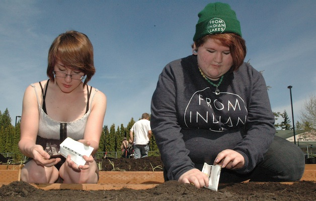 Marysville Arts & Technology High School senior Nikki Cooley and sophomore Emalee Alaniz plant seeds in one of the school's 16 garden beds on April 30.— image credit: Kirk Boxleitner