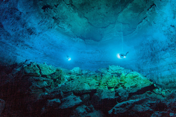 A view of Hoyo Negro, a submerged cave in the eastern Yucatán Peninsula in Mexico where the prehistoric girl's skeleton was discovered. Credit Roberto Chavez Arce, via Science, via Associated Press