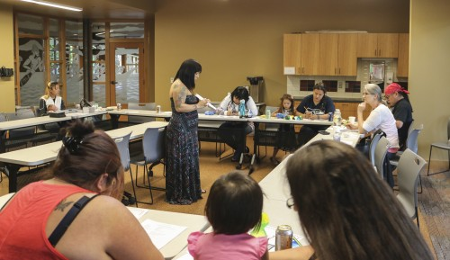 Participants to the Wednesday, May 7, Lushootseed Family Night learned the Little Prayer and basic home phrases.Photo/ Brandi N. Montreuil, Tulalip News