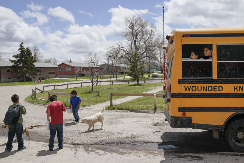 Students leave class and wait for the bus on the last day of classes at the Wounded Knee District School in Manderson, South Dakota.Photo by Peter van Agtmael/Magnum for MSNBC
