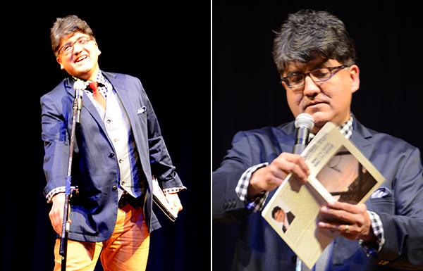 Photos by Jack McNeelA dapper Sherman Alexie on stage in Spokane, Washington.