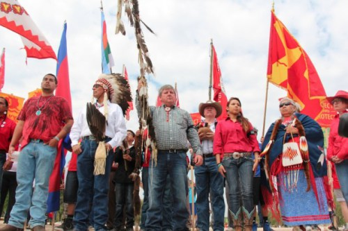 Tribal leaders gather at Reject and Protect in Washington, D.C., last week. (WNV / Kristin Moe)