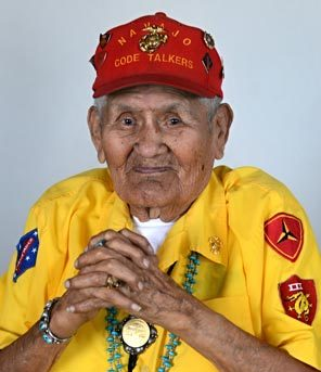 DEAN HANSON / APNavajo Code Talker Chester Nez in 2011 at his home in Albuquerque. Nez, the last of the 29 Navajos who developed an unbreakable code that helped win World War II, died Wednesday morning. He was 93. Nez was in the 10th grade when a Marine recruiter went to the Navajo reservation looking for young men who were fluent in Navajo and English. Nez told The Associated Press in a 2010 interview that he kept the decision to enlist a secret from his family and lied about his age.