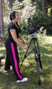 """Heritage High School student Adiya Jones worked as 'Lady of the Woods"""" cinematographer during filming. Photo/ Brandi N. Montreuil, Tulalip News"""