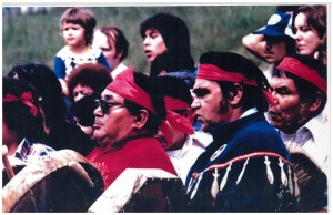 Prominent leaders of the Salmon Ceremony, Bobby Moses, Stan Jones Sr, Neil Moses, and Louie Moses.Photo courtesy of the family of Stan and Joanne Jones