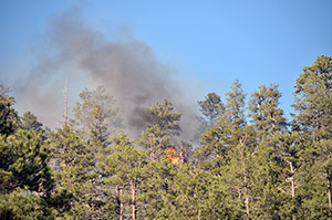 A wild land firefighter, right (in yellow), can be seen walking in the direction of the fire as a helicopter drops water onto the flames Friday evening on the Chuska Mountains near Asaayi Lake, which is east of Navajo Pine, N.M. Fire officials said they did not know what caused the fire. It is continuing to be investigated.