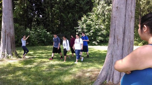"""Heritage High School students filming a scene for 'Lady of the Woods,"""" a project for their multi-media class. Photo/ Brandi N. Montreuil, Tulalip News"""