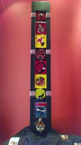 Northwest Indian College Art Classes exhibit shown at Peninsula College's Longhouse Art Gallery features a large fused glass story pole. Each panel was designed by NWIC student and reflects the Native American culture of each student. Photo/ Brandi N. Montreuil, Tulalip News