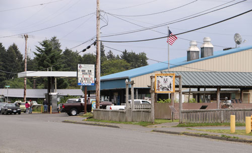 Taholah Mercantile, a Quinault Indian Nation enterprise, is the main, and only, source of perishable food shopping for residents in the Lower Village. It sits a block from the seawall and is at risk of flooding from rising sea levels. Photo/ Brandi N. Montreuil, Tulalip News