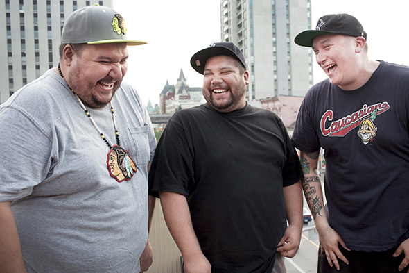 A Tribe Called Red (left to right): DJ Bear Witness, DJ Shub, Deejay NDN (Ian Campeau). Photo by Pat Bolduc.