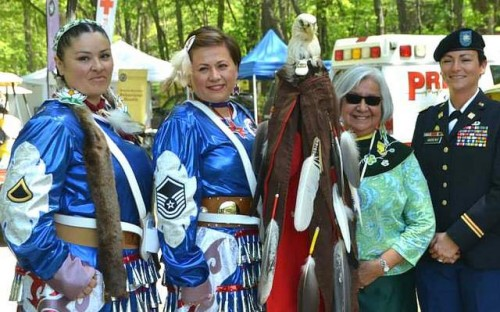 Air Force Master Sgt. Shenandoah Ellis-Ulmer, second from left, poses with other members of the Native American Women Warriors, an all-female color guard that support Native female veterans. (Photo courtesy Shenandoah Ellis-Ulmer)