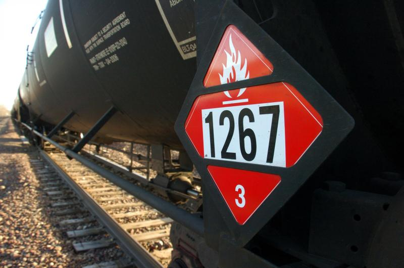 FILE - In this Nov. 6, 2013 file photo is a warning placard on a tank car carrying crude oil near a loading terminal in Trenton, N.D. U.S.Matthew Brown AP Photo