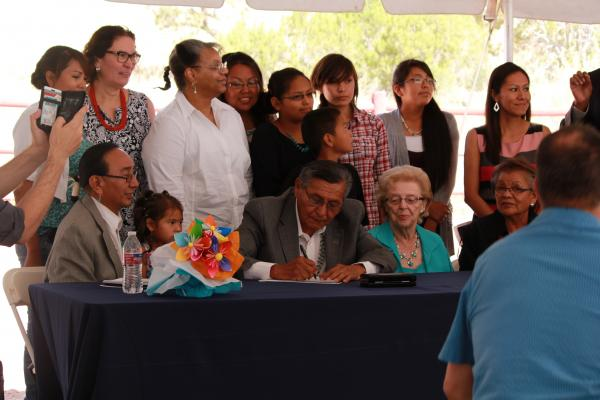 Courtesy Navajo NationOn June 27, Navajo Nation Presient Ben Shelly signs the Title IV-E funding agreement with the DHHS.