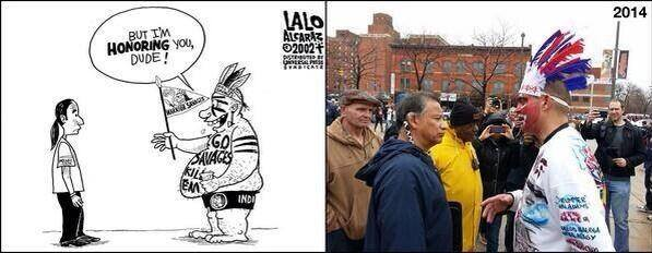 A 2002 cartoon from Lalo Alcaraz and a 2014 photo at a Cleveland Indians protest.