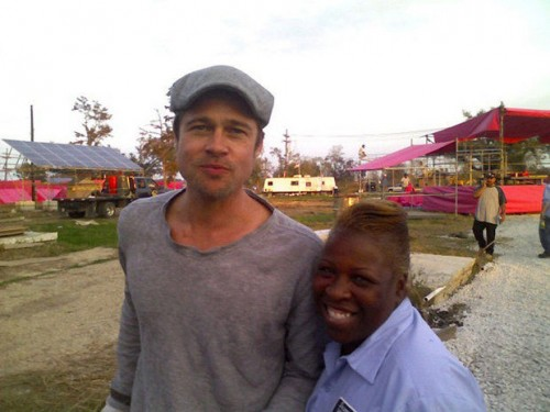 Brad Pitt posing with Janice Porter at the future site of Make It Right in the Lower Ninth Ward, 2007 (Doug MacCash / NOLA.com | The Times-Picayune)
