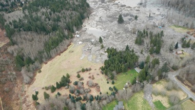 A photo taken immediately after the March 22 slide that killed 43 people and destroyed dozens of homes in Oso, Washington. A new scientific reports says a history of landslides and a huge volume of precipitation were big contributors to the slide. | credit: Washington Department of Transportation