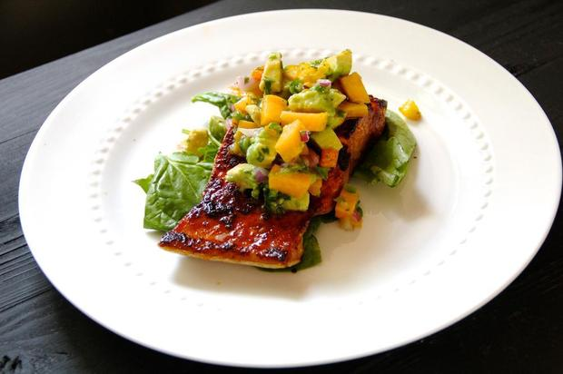 Sugar-crusted salmon with avocado-peach salsaMAYA EVOY