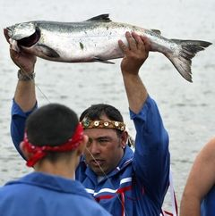 Herald file photoTulalip tribal member Tony Hatch presents the first salmon of the fishing season during a Salmon Ceremony on the Tulalip Reservation in 2004. The traditional ceremony honors the first salmon to be caught with the hope that the fishing season will be plentiful. Following a feast, the bones of the salmon are returned to the water so that the honored fish will speak highly of the tribe.