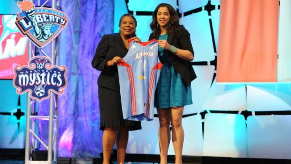 WNBASchimmel holds up her Atlanta Dream jersey on draft day in April 2014.