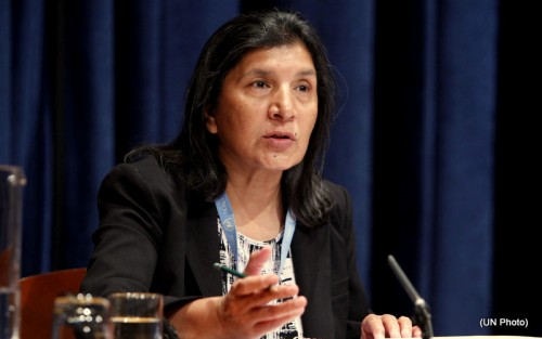 Rashida Manjoo, UN Special Rapporteur on the Rights of Women presenting her report to the UN General Assembly in New York, 2011.