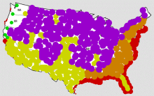 A map by Cliff Mass illustrating with colored dots the parts of the country most likely to be affected by various aspects of climate change.Cliff Mass