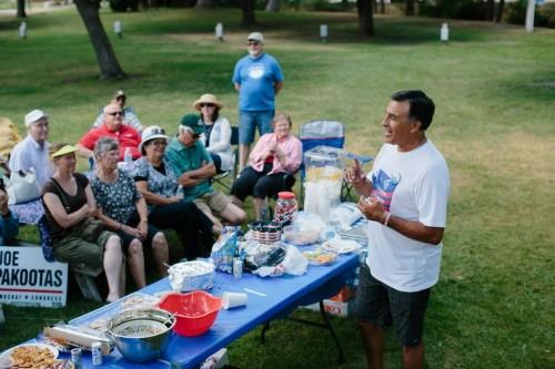 Pakootas speaks at the Stevens County 7th District Picnic in Chewelah, Washington, July 26, 2014. Ian C. Bates for Al Jazeera America