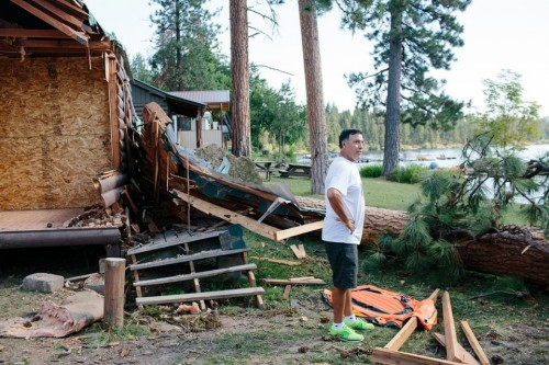 The candidate surveys damage at the Rainbow Beach Resort, one of the businesses he supervises as the CEO of the Colville Tribal Federal Corporation. Cabins at the resort, located on the Colville Indian Reservation, were destroyed by a storm with heavy winds.Ian C. Bates for Al Jazeera America