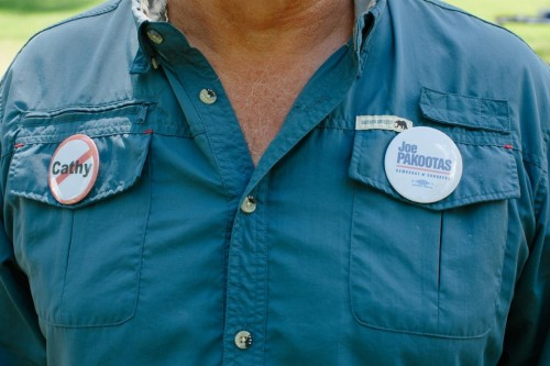 A Pakootas supporter wears the candidate's buttons. Ian C. Bates for Al Jazeera America