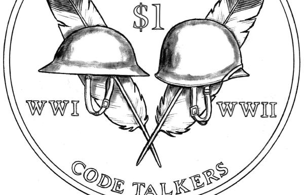 Source: usmint.govA detail of the design for the 2016 Native American dollar coin, 'Code Talkers from both World War I and World War II (1917-1945),'