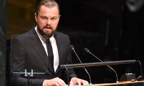 Leonardo DiCaprio speaks at the opening of the United Nations