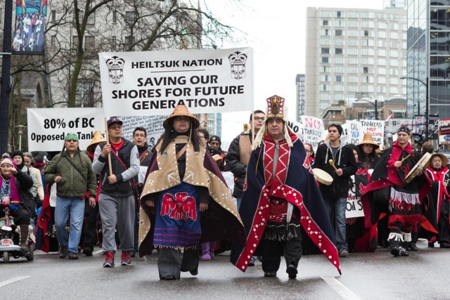 Heiltsuk-led No Enbridge rally in Vancouver, March 26, 2012. photo by Paul Hodgson http://phodgson.com