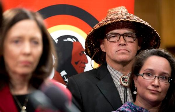 AP Photo/Manuel Balce CenetaSen. Maria Cantwell, D-Wa., from left, President of National Congress of American Indians (NCAI) and Chairman of the Swinomish Tribe Brian Cladoosby, and Amy Sarck Dobmeier of the Qissunamiut Tribe of Alaska join other native Americans and lawmakers during a news conference on Capitol Hill in Washington, Tuesday, Sept. 16, 2014, to pressure the Washington Redskins football team to change their name. Cantwell says she will introduce a bill to eliminate the NFL's tax-exempt status because the league has not taken action over the Washington Redskins name. (AP Photo/Manuel Balce Ceneta)
