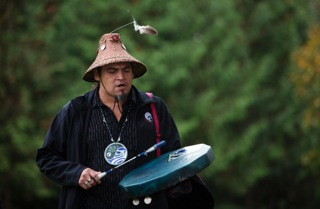 Richard J. Seward of Sto:lo First Nation and Pilalt Tribes welcomed the Washington Tribes with songs and ceremony. Chilliwack is the traditional lands of the Sto:lo people.