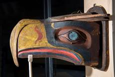 The Kwakwaka'wakw transformation mask that inspired the design of the original Seahawks logo. Photo courtesy of the Hudson Museum