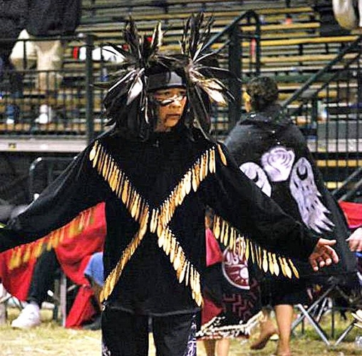Jaylen Fryberg performs in his dance regalia during the Paddle to Squaxin Island, August 2012. Courtesy photo