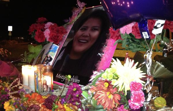 Source: facebook.com/beautifulmistyuphamCandles, flowers, balloons, and photographs memorialize Misty Upham in a display on the Muckleshoot Reservation. Source: facebook.com/beautifulmistyupham