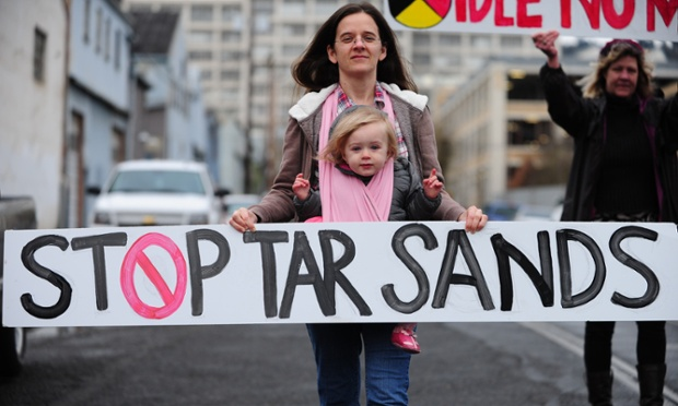 Protest against tar sands in Portland, Oregon, US. Photograph: Alex Milan Tracy/Demotix/Corbis