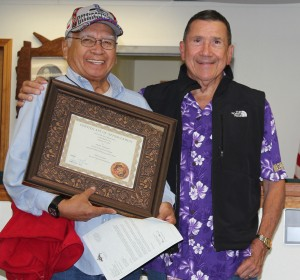 Elder's Panel volunteer Hank Williams with Tulalip Tribes Tribal Court Judge Gary Bass, Friday, Oct. 17, 2014, at the Tulalip Tribes Tribal Court. Williams along with other panel volunteers were honored during a special recognition ceremony hosted by the court. (Tulalip News Photo/ Brandi N. Montreuil)
