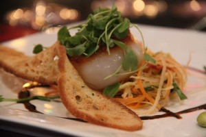 Salad by Chef John Ponticelli was a seared scallop with green papaya slaw, micro asian mallow, golden edamame shoots with ginger lime vinaigrette and aged balsamic. it was paired with Alleromb Winery Sauvignon Blanc, Columbia Valley, Washington 2012.