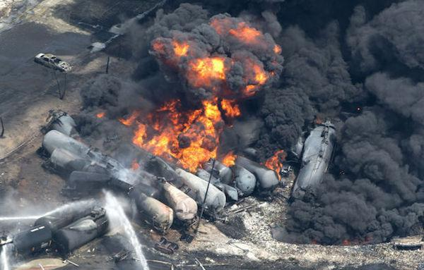 Associated PressThis derailment and explosion of a train carrying Bakken crude in Lac-Mégantic, Quebec, Canada in July 2013, killed 47 people. Northwest tribes and the State of Washington say, 'No thanks.'