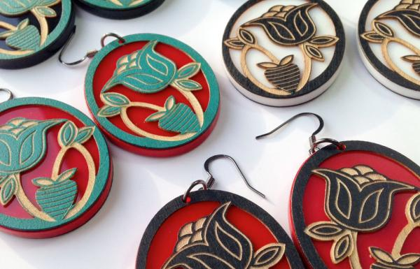 Image source: eighthgeneration.comHeart Berry earrings by Sarah Agaton Howes, an Anishinaabe artist who has signed on with Louie Gong's Inspired Natives project.