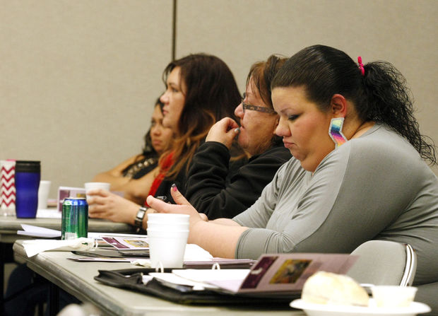 Sadie Young Bird, the director of the Ft. Berthold Coalition of Domestic Violence, listens during a breakout session during the 2014 statewide summit on human trafficking put on by North Dakota FUSE at the Bismarck Civic Center in Bismarck, N.D. on Thursday, November 13, 2014. Carrie Snyder / The Forum